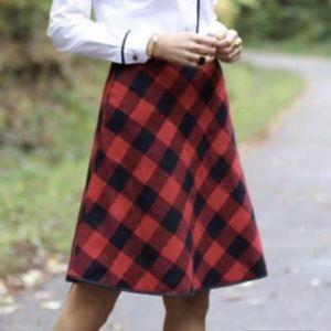 Pink tartan red plaid wool circle skirt size 0